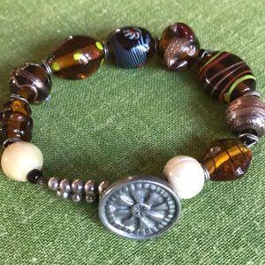 Retro brown Lucite bead jewelry bracelet